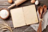Vintage recipe book, utensils and ingredients - 109835301