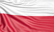 Flag of Poland, 3d illustration with fabric texture