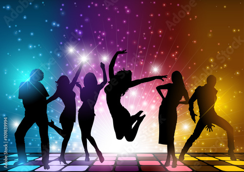 Fototapeta Party People Background - Dancing Silhouettes Illustration, Vector