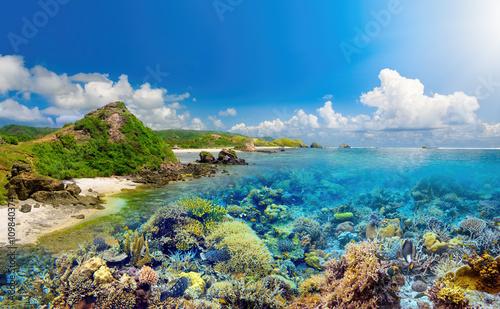 rafa-koralowa-na-tlo-tropikalnej-wyspie