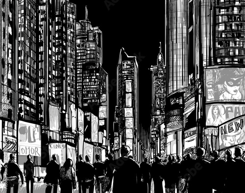 Deurstickers Art Studio Interpretation of Times Square in New York