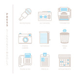 Set of vector press icons and concepts in mono thin line style