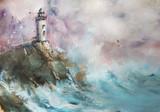 Lighthouse. Seascape. Oil.