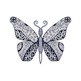 Hand drawn butterfly in zentangle style. Black and white