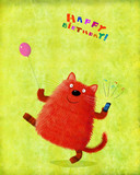 Birthday Card Cat Holding Balloon And Ringing Phone