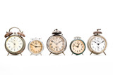 Collection of old alarm clocks