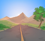 Country road and mountain sunset sky vector nature landscape background