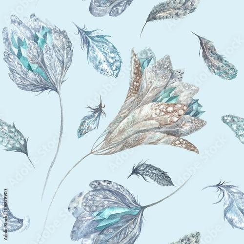 Fototapeta Feather Flowers Watercolor Pattern