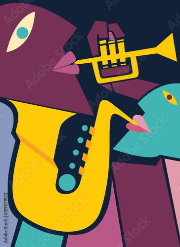 Fototapeta Saxophone and Trumpet Players, Jazz Art (vector Art)