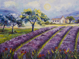 Art Oil-Painting Picture Lavender Fields in Italy