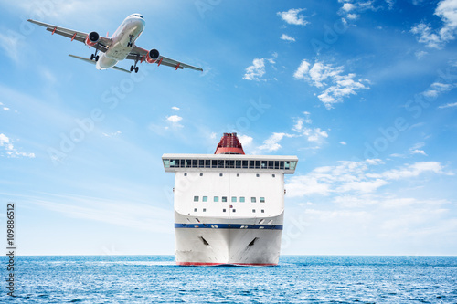 Big cruise ship and plane over the sea as theme for vacations and traveling Poster