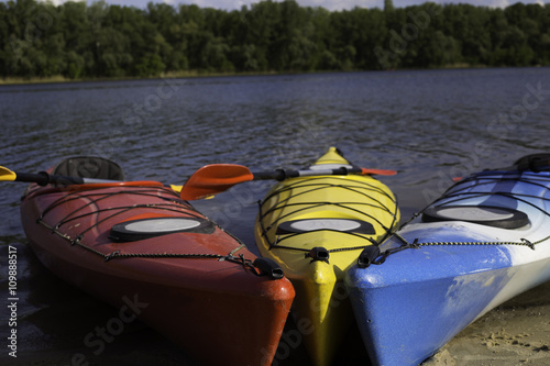 Poster kayaks color on the small river