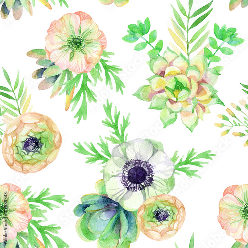 watercolor seamless pattern with anemone and herbs - 109889533
