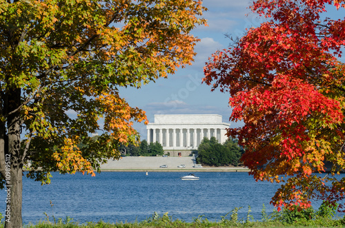 Washington DC in Autumn - Lincoln Memorial among the fall trees. Poster