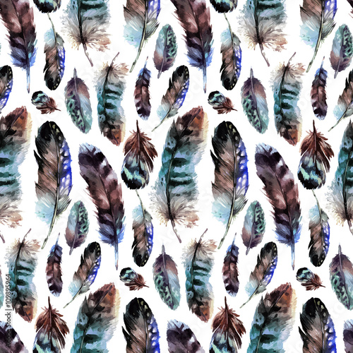 Watercolor feather pattern - 109895964