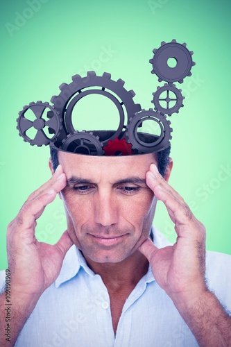 Poster Composite image of handsome man thinking with hand on forehead
