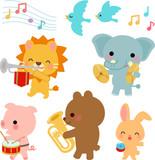 動物たちの音楽隊のイラストセット