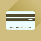 Flat icon with long shadow bank card
