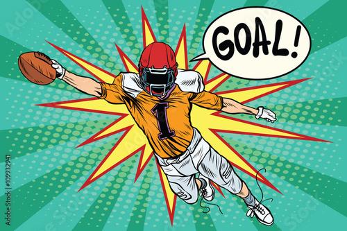Fototapeta American football athlete ball goal