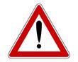 Warnschild mit Ausrufezeichen und Zusatzinformation