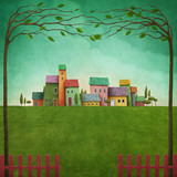 Fototapety Green landscape with color rustic houses and  red fence