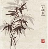Card with bamboo in sumi-e style on vintage paper background, Hand-drawn with ink. Contains hieroglyphs - eternity, freedom, happiness