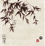 Card with bamboo in sumi-e style on vintage paper background, Hand-drawn with ink. Contains hieroglyphs - eternity, freedom, happiness, luck