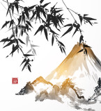 Bamboo and mountains, hand-drawn with ink in traditional Japanese style sumi-e. Vector illustration. Contains hieroglyph - double luck. - 109949981