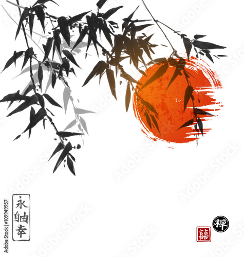 bambusowi-drzewa-i-czerwony-slonce-pociagany-recznie-z-atramentem-w-tradycyjnym