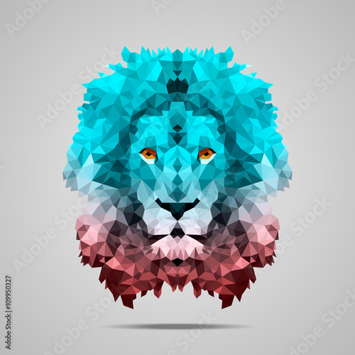 Lion low poly gradient Rose Quartz Poster