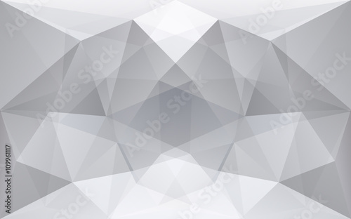 White and soft grey polygonal geometric background, symmetrical - 109961117
