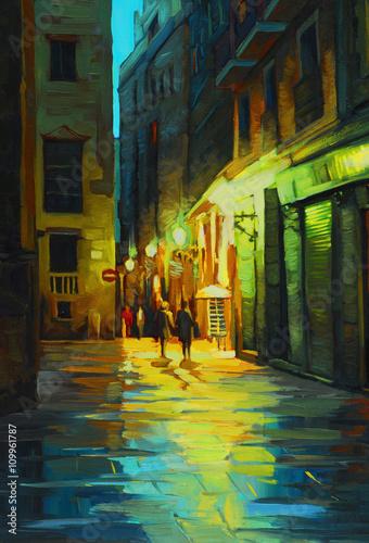 Fototapeta night landscape in barcelona gothic quarter with the rain, painting
