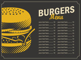 burger menu with price list and picture cheeseburger on a black background in retro style