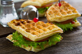 Waffle sandwich on a table