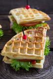 Waffle sandwich on a table