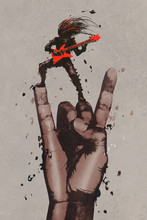big hand in rock n roll sign with guitarist,illustration painting