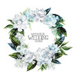 Watercolor gardenia and gypsophila wreath