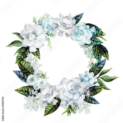 Watercolor gardenia and gypsophila wreath - 110007131