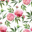 Watercolor peonies pattern - 110012123