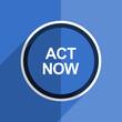 blue flat design act now modern web icon