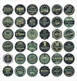 Premium Quality retro badges collection blue set