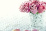 Pink roses in a white lace vase - 110017774