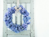 Blue hydrangea flower wreath - 110018374