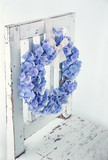 Blue hydrangea flower wreath - 110018389