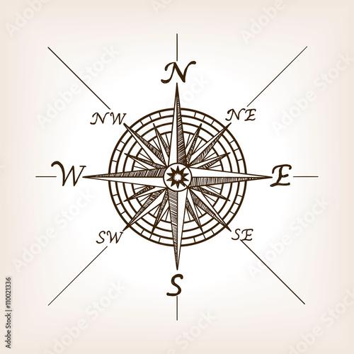 Fototapeta Compass rose sketch style vector illustration