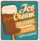 banner with the ice cream in retro style