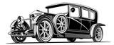 luxury vintage black classic car limousine vector illustration
