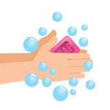 Washing Pair of Hand With Soap And Bubbles