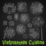 Vietnamese dinner chalk sketch on blackboard