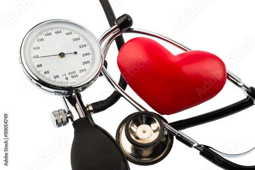 Leinwandbild Motiv Blutdruckmesser und Herz